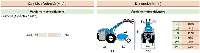 specifiche motocoltivatore bertolini 400